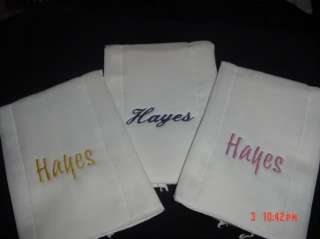 Set of 3 New Baby Burp Cloth personalized shower gift birdseye 3 ply