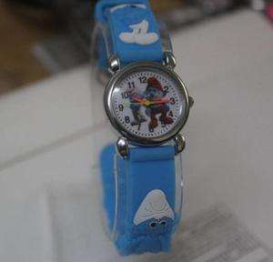 new Lovely 1pcs Blue The Smurfs children 3D watch kids best Gifts