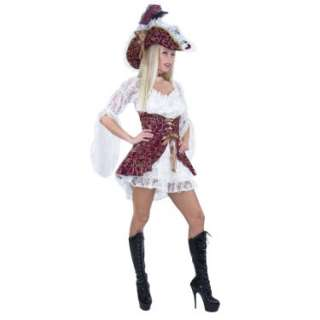 Halloween Costumes Lacy Pirate (Wine Corset) w/ Hat Adult Costume