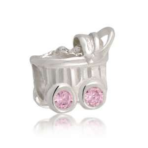 Sterling Silver Pink CZ Baby Carriage Charm Bead Fits Pandora Jewelry