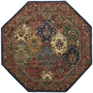 Navy / Red / Light Blue / Green Octagon Area Rug Furniture & Decor