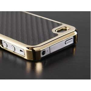 Pandamimi Carbon Fiber Style Metal Chrome Side Case Cover for Apple AT