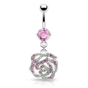14g Surgical Steel Dangling Rose Sexy Belly Button Navel Ring Dangle