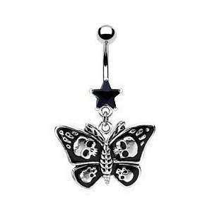 Dangling Black Skull Buttefly Belly Button Navel Ring Dangle