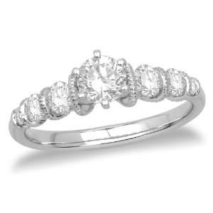 Round Diamond Engagement Ring with Round Sidestones (1/2 ct Center