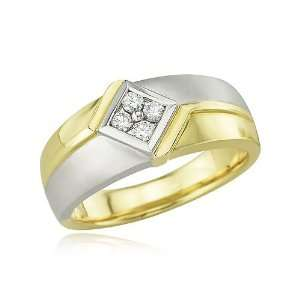 14K Two Tone Mens Round Diamond Square Ring Jewelry