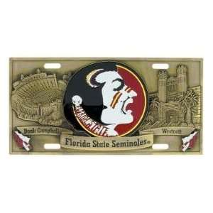 Florida State Seminoles License Plate 3D bronze Sports