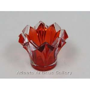Bohemian Red Crystal Red Cut Glass Bowl