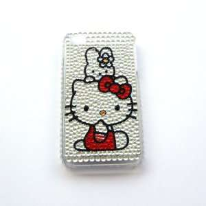 com Hello Kitty happy silver Rhinestone Bling Crystal back cover case