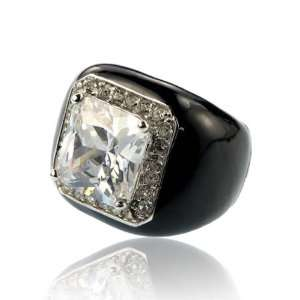 Zirconia Black Enamel Crystal Ring Size 5 Fashion Jewelry Jewelry