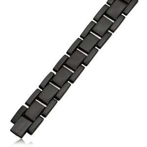 Mens Stainless Steel Midnight Black Link Bracelet Jewelry