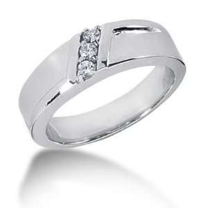Men s 18K Gold Diamond Ring 3 Round Stone 0.15 ctw 12318