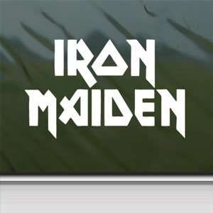Iron Maiden White Sticker Metal Rock Band Laptop Vinyl