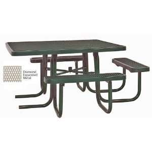 Square ADA Compliant Expanded Metal Outdoor Picnic Table Patio, Lawn