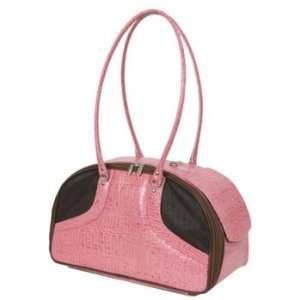 Petote Bali Pink Croc Leather Pet Carrier  Size SMALL
