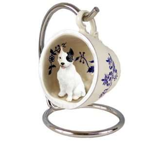 Pit Bull Terrier Blue Tea Cup Dog Ornament   White