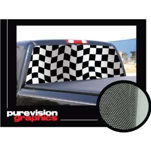 FLAG 16 x 54 Rear Window Graphic checker truck decal Automotive