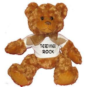 The Red Wings Rock Plush Teddy Bear with WHITE T Shirt