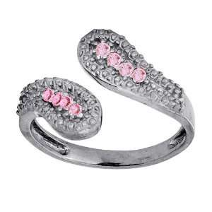 Around with PINK Cubic Zirconias 925 Sterling Silver Toe Ring Jewelry