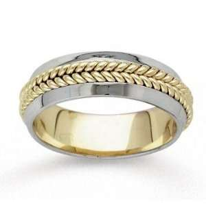 14k Two Tone Gold Braided Hand Carved Wedding Band Jewelry