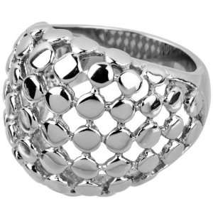Inox Jewelry 316L Stainless Steel Womens Dot Cocktail Ring Jewelry