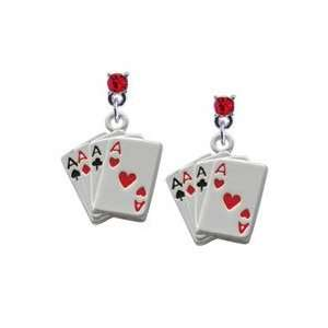 Aces Card Hand Red Swarovski Charm Earrings [Jewelry
