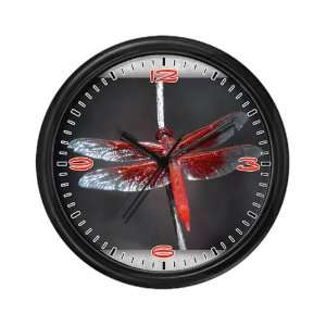 Wall Clock Red Flame Dragonfly