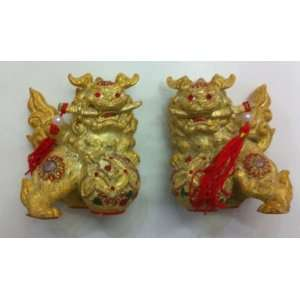 Feng Shui Golden Fu Dogs Statue By Pair