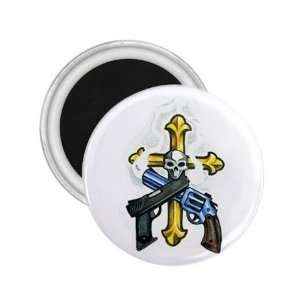 Tattoo Cross 2 Gun Skull Fridge Souvenir Magnet 2.25