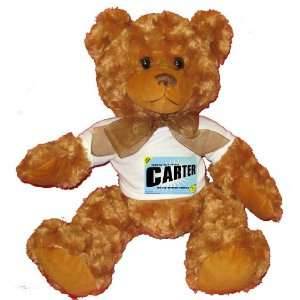 FROM THE LOINS OF MY MOTHER COMES CARTER Plush Teddy Bear with WHITE T
