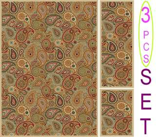 NON SKID 3 Piece SET MULTI PAISLEY AREA RUG SET (5 x 7) (2 x 6) (2x4
