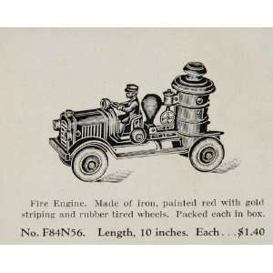 1933 Ad Antique Toy Iron Fire Engine Truck Vintage