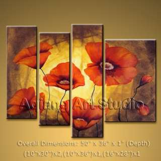 Flowers Red Modern Abstract Canvas Wall Art Oil Painting H217