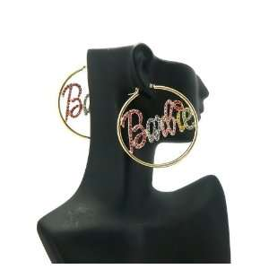 MINAJ BARBIE Thin Hoop Rhinestone Earring Large Gold/multi Jewelry
