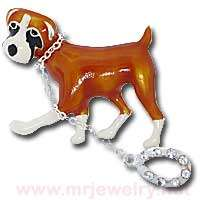 Cute DOG ON LEASH Rhinestone Brooch Pin