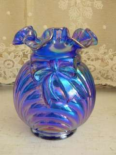Gorgeous~Fenton Blue Carnival Glass Bow and Drape Vase~MINT