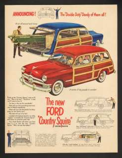 1950 Ford Country Squire Station Wagon Car Print Ad