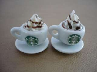 Set of 4 Cups of Cappuccino Starbucks Dollhouse Miniatures Food Supply