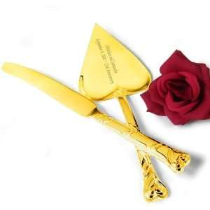 Gold Plated Heart Shaped Cake Knife and Server Set